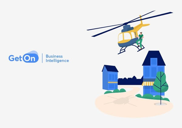 Get On Business Intelligence - helikopter boven huizen